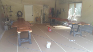 home interior painting spraying station