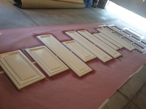 wood door restoration service spraying station