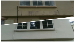 professional commercial painters stucco wall before after